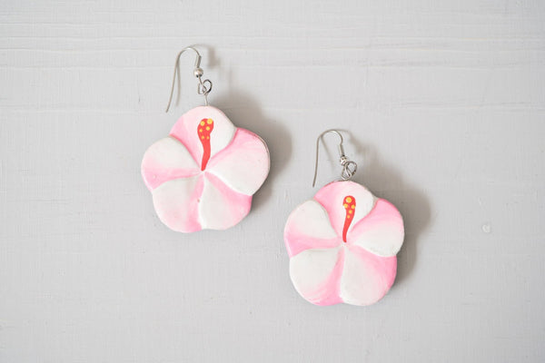 Vintage Pink Painted Wood Hibiscus Dangle Earrings