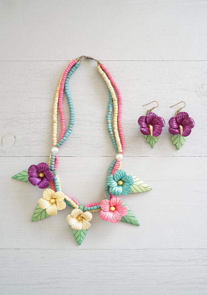 Playful Vintage Colorful Wooden Hibiscus Flower Necklace With Matching Earrings