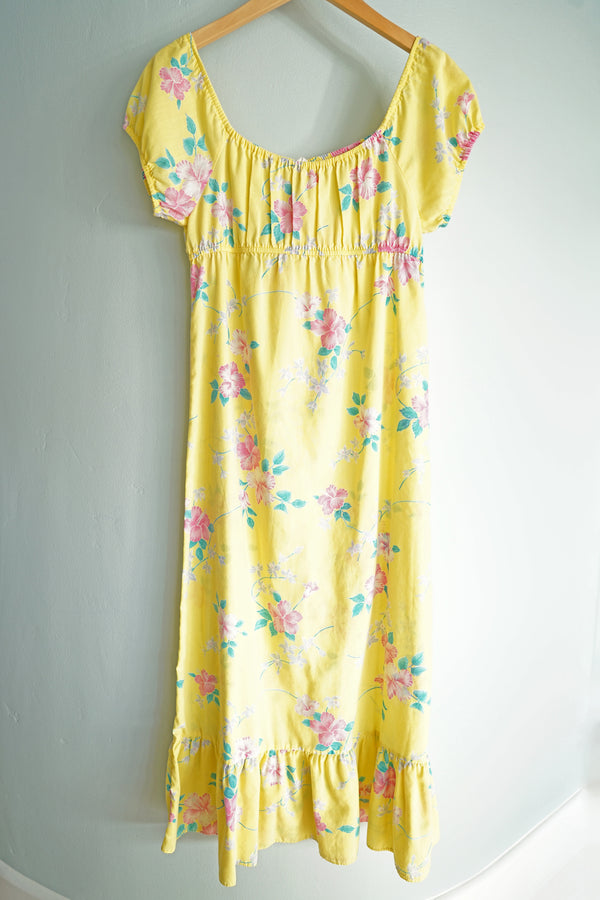Vintage 1970s Yellow Off-the-Shoulder Hibiscus Keiki Togs Hawaii Maxi Dress