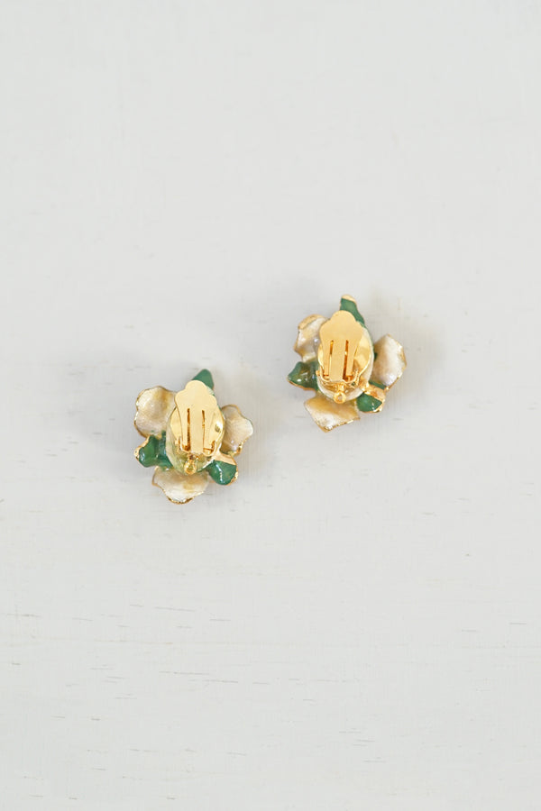Vintage Enamel Yellow and Green Flower Clip-On Earrings
