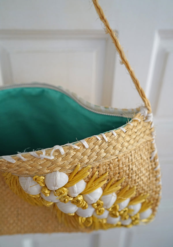Vintage 1960s Handmade Shells, Jute, and Yellow Raffia Purse