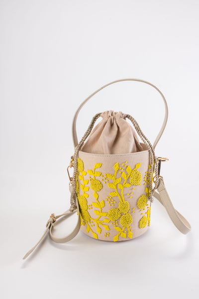 MAISIE Lemon Embroidered Bucket Bag