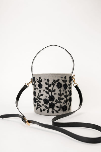 MAISIE Grey Wool Embroidered Bucket Bag