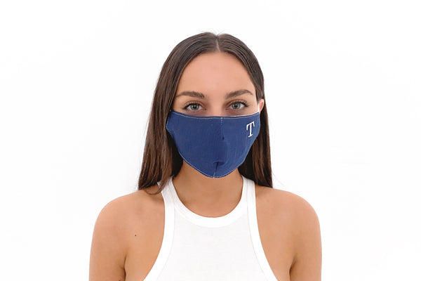 EMBROIDERED INITIAL Face Mask - NAVY