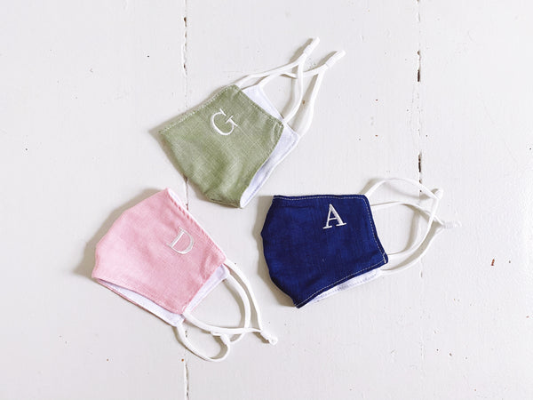 EMBROIDERED INITIAL Face Mask - PINK
