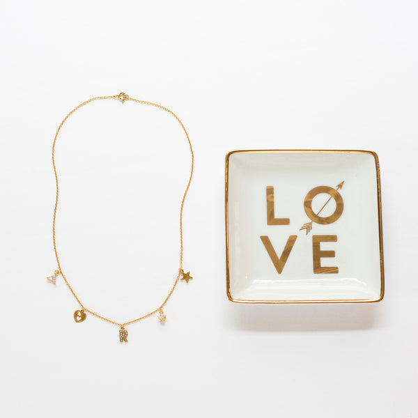 We Love Mom! <br/>Initial Charm Necklace & LOVE Jewelry Tray