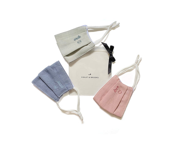 SERENA Embroidered Face Mask - THREE Pack Set With Pouch
