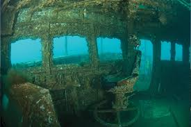 Inside the bridge of the wreck of the HMAS Adelaide