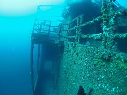 Underwater view of the port side of the wreck of the HMAS Adelaide