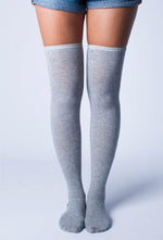Heather Gray Thigh High Socks