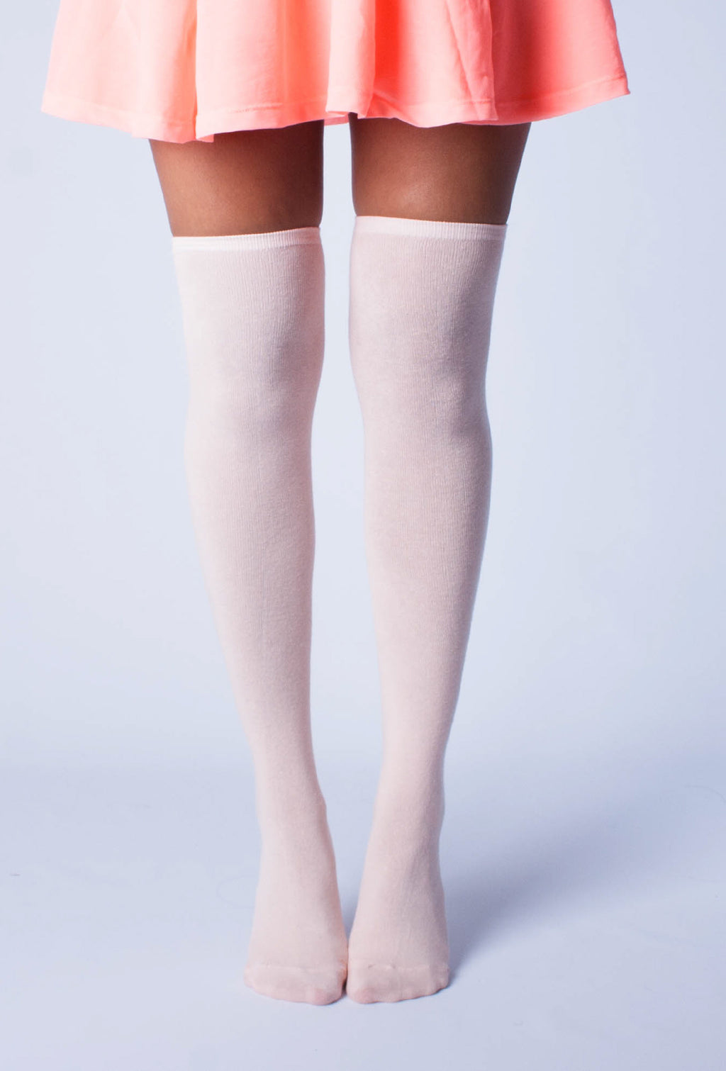 Solid Light Pink Thigh High Socks