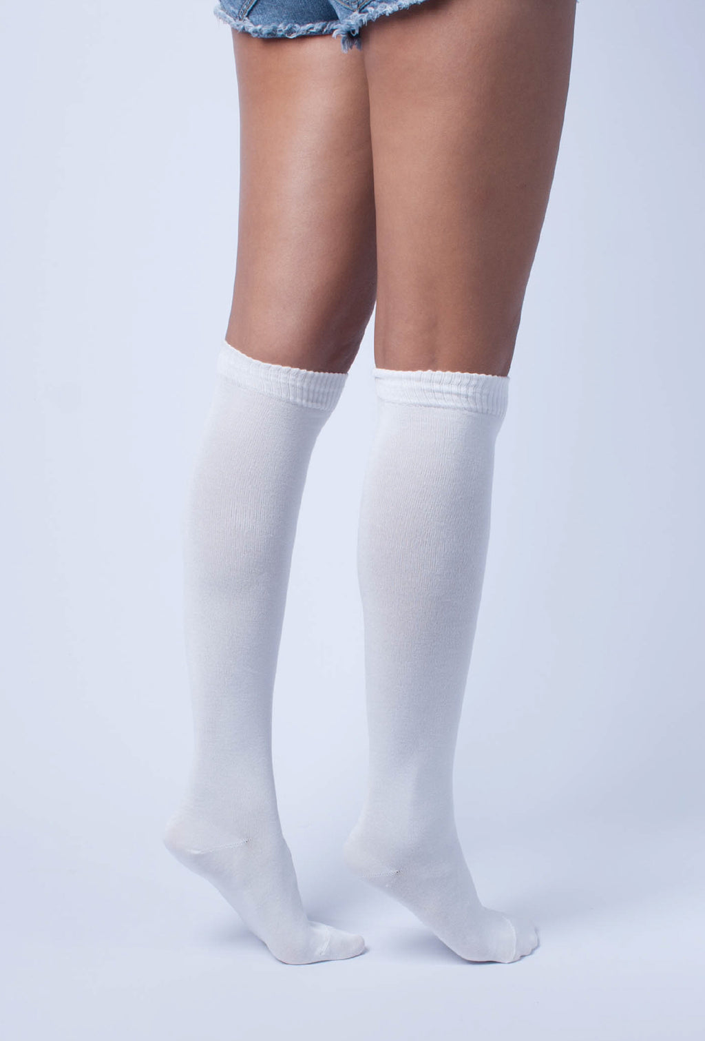 Solid White Knee High Socks