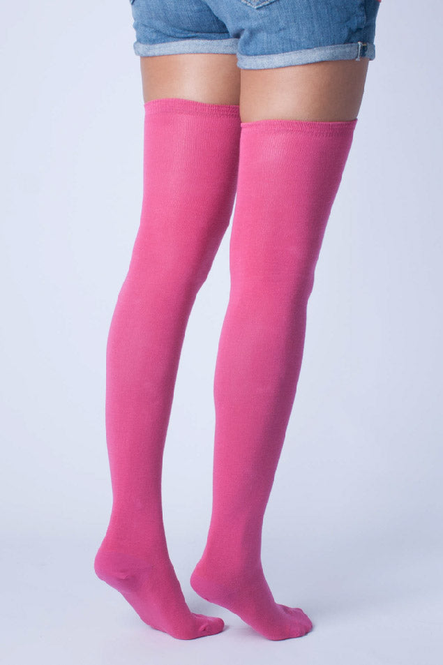 Solid Pink Thigh High Socks