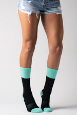 Teal Stripe Extra Padded Athletic Crew Socks Moisture Wicking Sport Women's Rib Socks