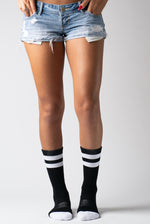 White Stripe Extra Padded Athletic Crew Socks Moisture Wicking Sport Women's Rib Socks