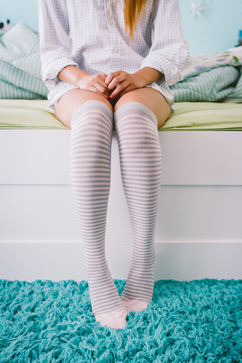 Pink and Gray Striped Knee High Socks