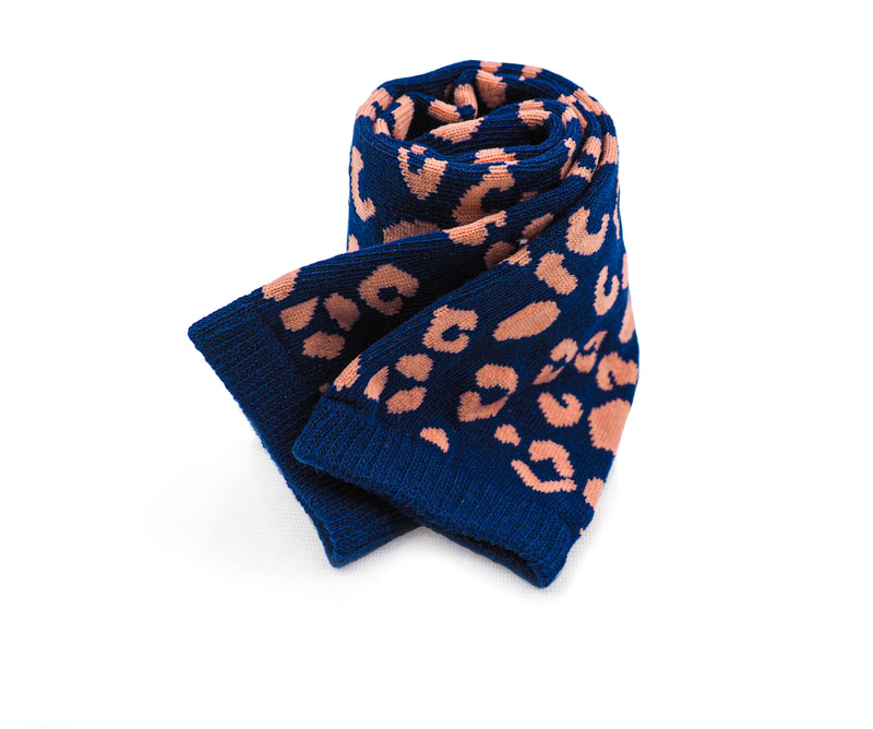Navy Leopard Pink Spots Dots Combed Cotton Light Weight Crew Socks