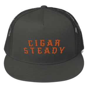 """Cigar Steady Jag"" Mesh Back Snapback -Black/Orange"