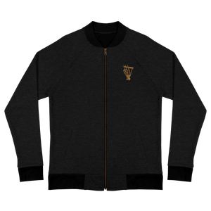 "Men's ""Still Smoking"" Embroidered Bomber Jacket (BLACK/GOLD)"