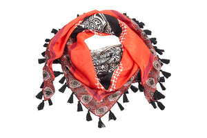 Coussinet black and red scarf with tassles