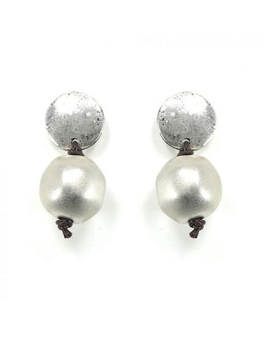 Carme Anglada Silver and Pearly stud ear-rings