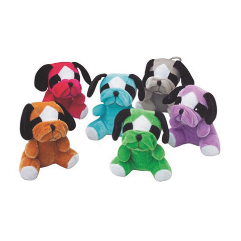 Lot Of 12 Assorted Color Stuffed Bull Dog Animal Toys