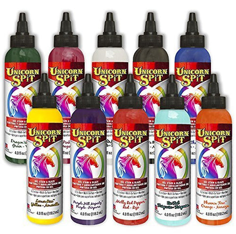 Unicorn SPiT Gel Stain & Glaze in One - 10 Paint Collection 4oz Bottles
