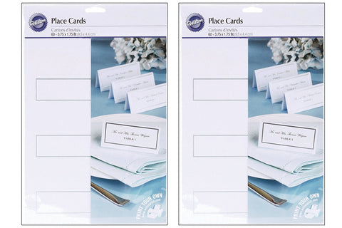 2 X Wilton Silver Border Place Cards