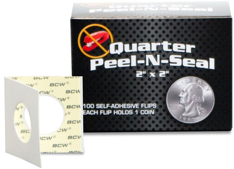 BCW Peel-N-Seal Self-Adhesive 2x2 Coin Flips for Quarters 100ct
