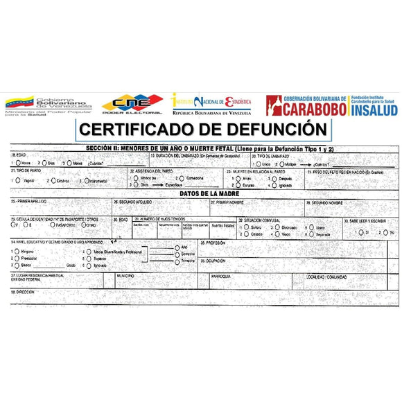 Certificado de Defunción - FIRST STEP TRANSLATIONS CORPORATION
