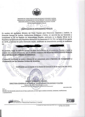 Traducción de Certificado de Antecedentes Penales - FIRST STEP TRANSLATIONS CORPORATION