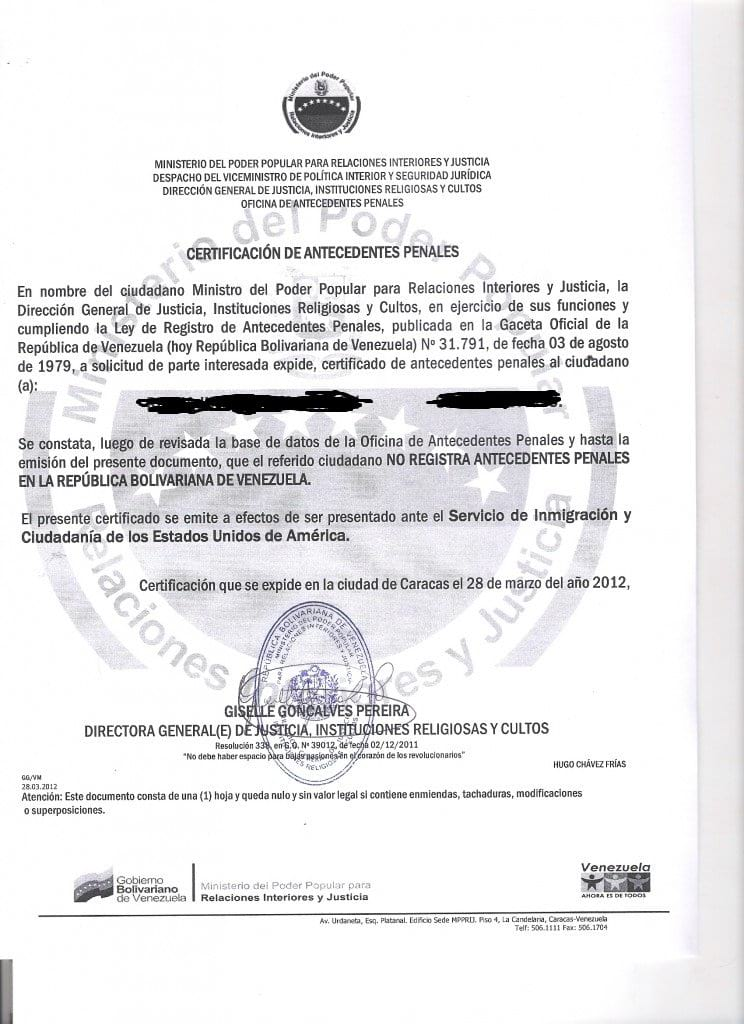 Certificado de Antecedentes Penales - FIRST STEP TRANSLATIONS CORPORATION