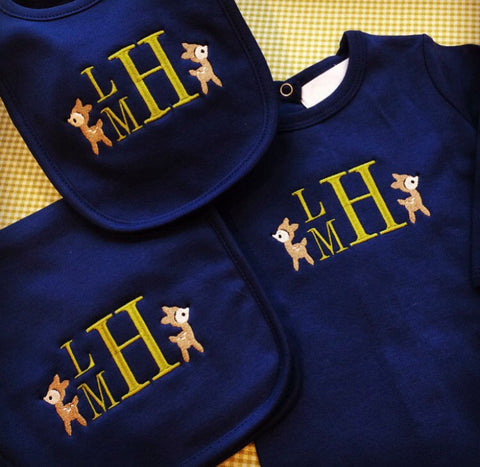 Coming Home Outfit- Baby Boy - Infant Gown or Bodysuit, Burp Cloth, Bib Monogrammed with Deer