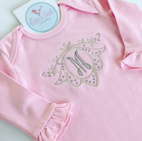 Monogrammed Baby Girl Infant Gown | Coming Home Outfit | Baby Shower Gift | Baby Girl Clothes