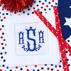 Monogrammed cocktail napkins | Fourth of July napkins