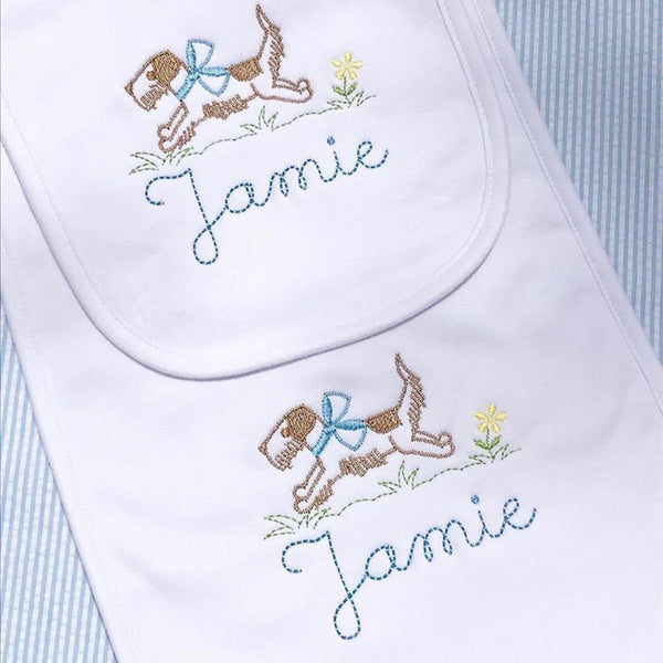 Running Puppy Dog with Bow | Bib and Burp Cloth Set | Preppy Baby Boy | Baby Shower Gift