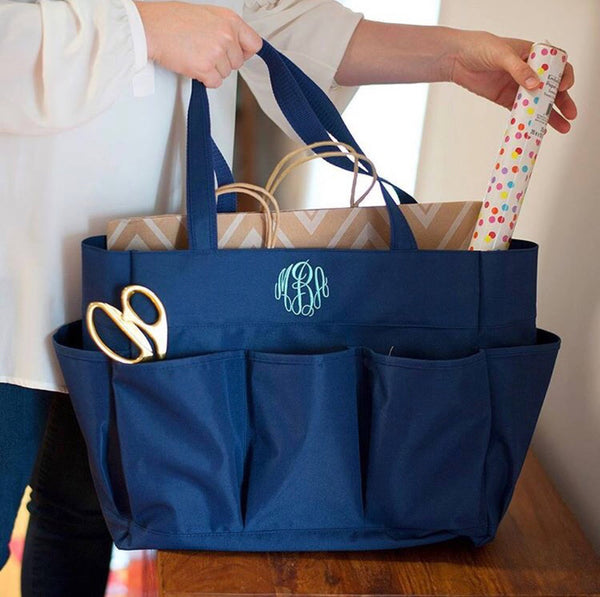 Carry all organizing bag monogrammed | Embroidered tote with pockets