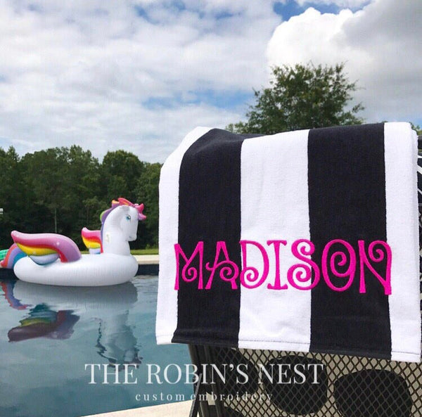 Cabana Stripe Beach Towel | Turquoise | Bright Lime Green | Red | Yellow | Black | Navy | Royal | Tropical Pink