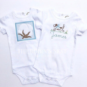 Monogrammed Baby Boy Bodysuit Set Coordinated | Cotton Boll Seersucker Applique | Preppy Puppy Dog Running with Bow