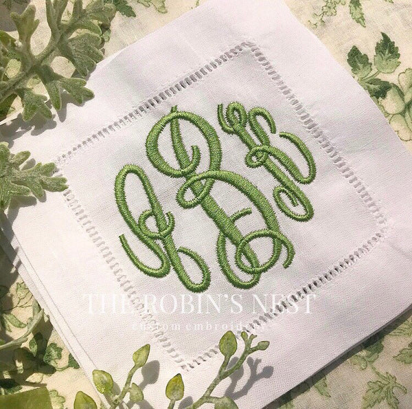 Monogrammed Linen Cocktail Napkins Embroidered | Wedding Napkins | Hostess Gift | Housewarming Gift