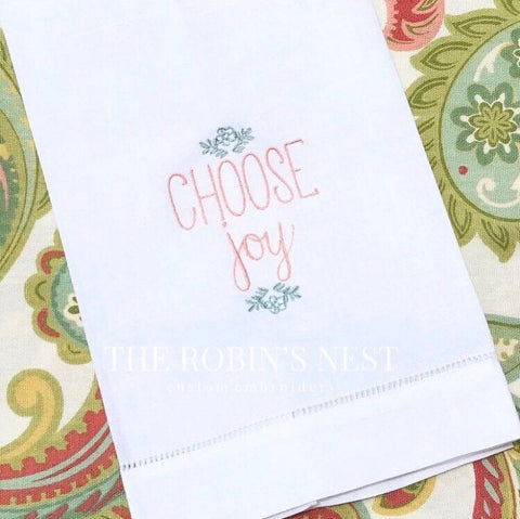 Choose Joy Embroidered Linen Guest Towel