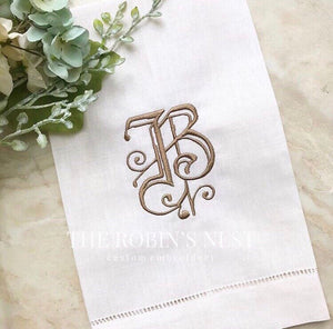 Monogrammed  linen guest towels | Tea towels | House warming | hostess gift | hand towels