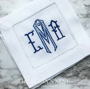 Embroidered Linen Cocktail Napkins Custom Embroidered