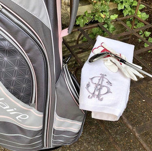 Monogrammed Golf Towel Embroidered | Womens Golf Towel | Girls Golf Towel
