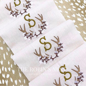 Cotton Antler Embroidered Monogrammed Linen Guest Towel | Tea Towel | Hostess Gift