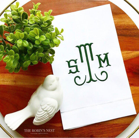 Custom Embroidered Linen Guest Towels Monogrammed | Monogrammed Tea Towels | Housewarming Gift | Hostess Gift