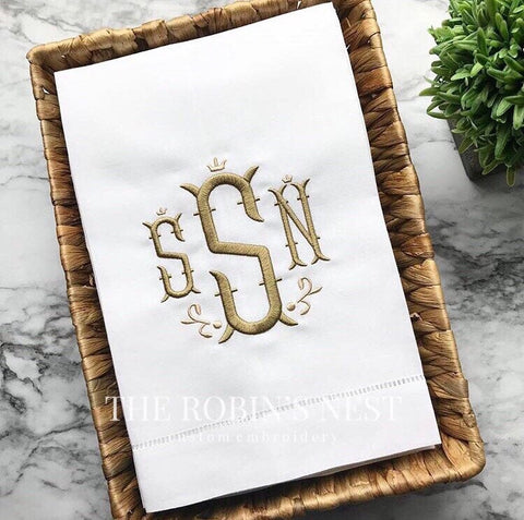 Embroidered Linen Guest Towels Monogrammed | Hostess Gift | Housewarming Gift | Monogrammed Gift