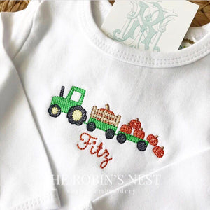 Fall Pumpkin Tractor Monogrammed Shirt Embroidered Boys or Girls