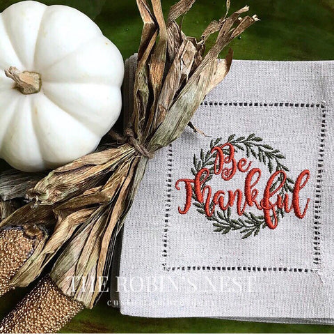 Be Thankful Embroidered Linen Cocktail Napkins | Thanksgiving Napkins |Housewarming