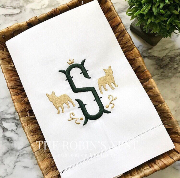 Embroidered French Bulldog Linen Guest Towel Monogrammed